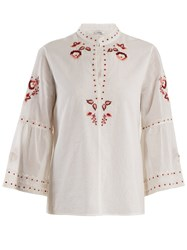 Vilshenko Niamh Embroidered Cotton Blouse Ivory Multi