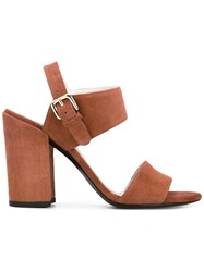 Stuart Weitzman Block Heel Sandals Women Leather Suede 39 Brown