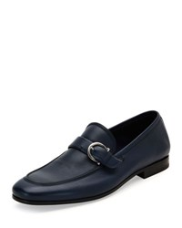 Salvatore Ferragamo Faruk Soft Calfskin Side Gancio Loafer Blue Marine Navy