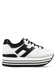 Hogan 70Mm Maxi 222 Leather Sneakers White