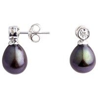 A B Davis 9Ct White Gold Diamond Top Pearl Drop Earrings Black