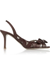 Valentino Textured Leather Slingback Pumps Brown