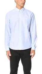 Ami Alexandre Mattiussi Button Down Striped Oxford Shirt Sky Blue White