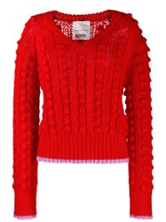 Marco De Vincenzo Contrasting Trim Chunky Jumper Red