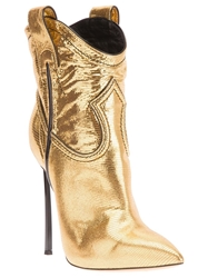 Casadei Stiletto Heel Cowboy Boot Metallic