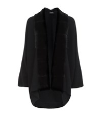 Harrods Of London Mink Fur Trimmed Cardigan Female Black