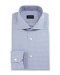 Ermenegildo Zegna Gingham Dress Shirt Slate Blue