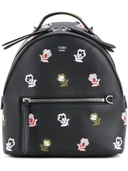 Fendi Backpack With Embroidered Flowers Women Calf Leather One Size Black