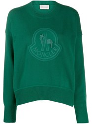 Moncler Logo Embroidered Jumper Green