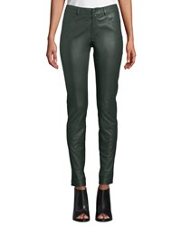 Lafayette 148 New York Mercer Mid Rise Leather Skinny Jeans Spruce