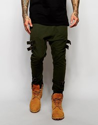 Asos Drop Crotch Joggers With Taping In Dark Khaki Forest Night Green