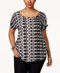 Eyeshadow Plus Size Printed Dolman Sleeve Blouse Black Ivory