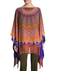 Etro Mandala Print Silk Poncho Orange Purple Orange Purple