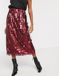 Lost Ink High Waist Midi Skirt In All Over Sequin Red