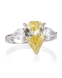 Fantasia Pear Cut Canary Cz Ring 7