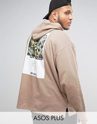 Asos Plus Oversized Hoodie With Palm Print Silver Mink Beige