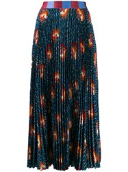 Stella Jean Pleated Midi Skirt Blue