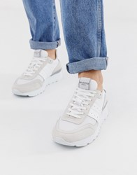 Selected Homme Trainers With Mesh Detail White