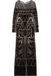 Temperley London Ashina Embroidered Open Knit Gown Black
