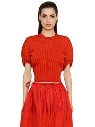 Sportmax Cropped Viscose Rib Knit Sweater