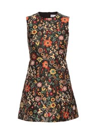 Red Valentino Fancy Flower Jacquard Sleeveless Dress Black Multi