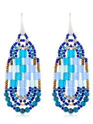 Ziio Pixel Blue Beaded Earrings