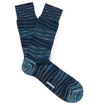 Missoni Crochet Knit Cotton Blend Socks Blue