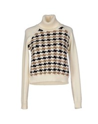 Blue Les Copains Knitwear Turtlenecks Women Ivory
