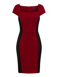 Hotsquash Square Necked Ponte Dress In Clever Red