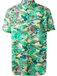 Comme Des Garcons Shirt Mickey Mouse Print Shirt Green