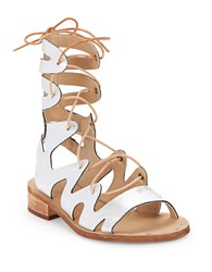 Latigo Leather Gladiator Sandals Silver