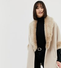 River Island Swing Coat With Faux Fur Collar In Stone Stone