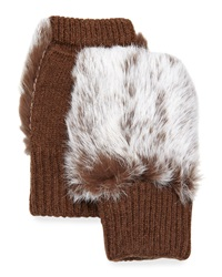 Adrienne Landau Rabbit Fur Knit Fingerless Gloves Brown