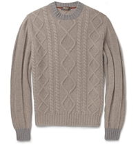 Loro Piana Coarsehair Cable Knit Cashmere Sweater Brown