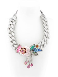 Shourouk Flower Chain Silver Necklace