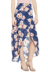 Mimi Chica Floral Print Maxi Skirt Blue Floral