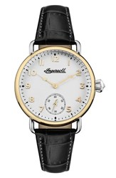 Ingersoll Watches Women's Trenton Leather Strap Watch 34Mm Black White Gold