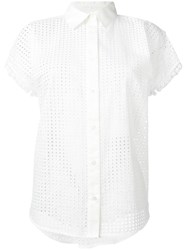 Love Moschino Perforated Short Sleeve Blouse White