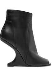 Rick Owens Cutout Leather Ankle Boots Black