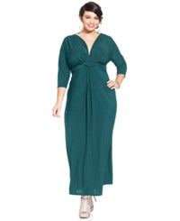 Love Squared Plus Size Three Quarter Sleeve Knotted Maxi Dress Bright Blue