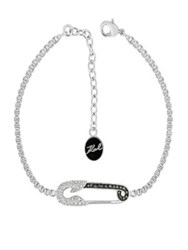Karl Lagerfeld Safety Pin Crystal Embellished Bracelet Silver