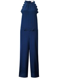 Red Valentino Scallop Jumpsuit Women Silk 40 Blue