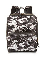 Pierre Hardy Cube And Camouflage Print Nylon Backpack Black White