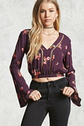 Forever 21 Bell Sleeve Floral Crop Top Plum Coral