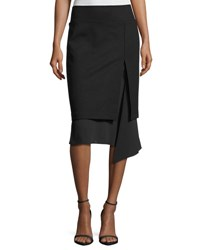 Brunello Cucinelli Asymmetric Flounce Georgette Skirt Dark Gray