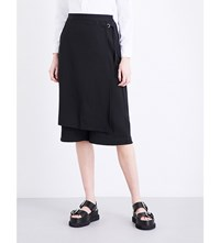 5Cm Wrap Panel Wide Leg Cropped Twill Trousers Black