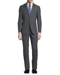 Neiman Marcus Two Button Windowpane Two Piece Suit Gray