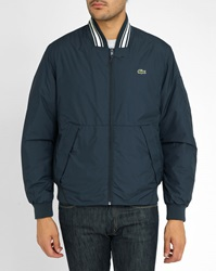 Lacoste Navy Quilted Baseball Jacket With Blue And White Ribbed Collar