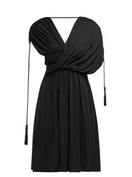 Lanvin Draped Tassel Trim Crepe Dress Black