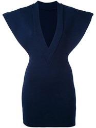 Jacquemus V Neck Fitted Dress Women Cotton 38 Blue